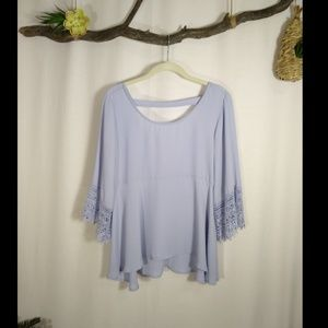 TOBI lavender lace bell sleeve blouse